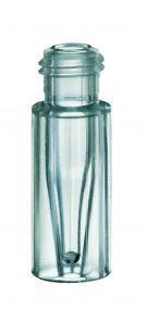 Skruelågsglas 0,2ml 9mm, plast m. glasinds, 100stk